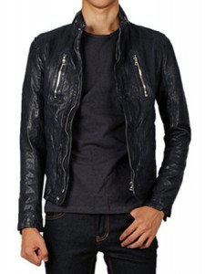 s 11 s/s leather jacketnavy