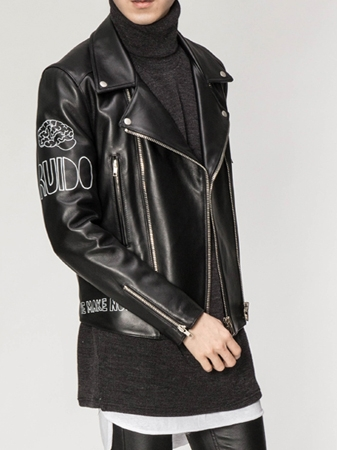 UC PRINTED RIDER LEATHER JACKET